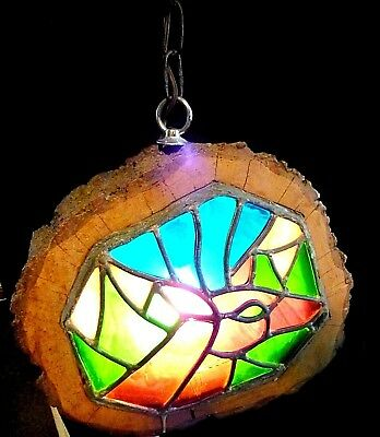 Vintage Stained Glass Log Swag Light Fixture Unique Funky Rustic Camp Cabin