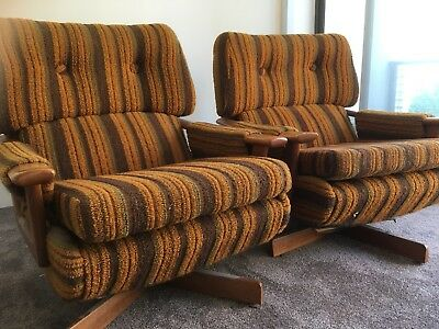 Pair Of Retro 70's Swivel Armchairs