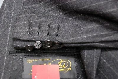 Perfect CUSTOM BESPOKE winter weight flannel gray pinstripe suit 42S 40S 40 42 S