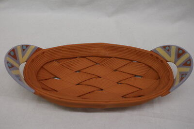"Hand Crafted RINA PELEG Terra Cotta Red Clay Open Weave Ceramic 14"" Oval Basket"
