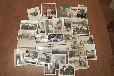 Lot of 26 Vintage Black and White Snapshots and 2 Photos c.1910's - 1940's