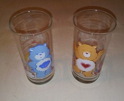 Set Of 2 Pizza Hut Collectible Care Bear Glasses From 1983