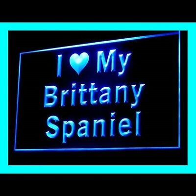 210105 I Love My Brittany Spaniel Loyalty Silhouette Embossed LED Light Sign