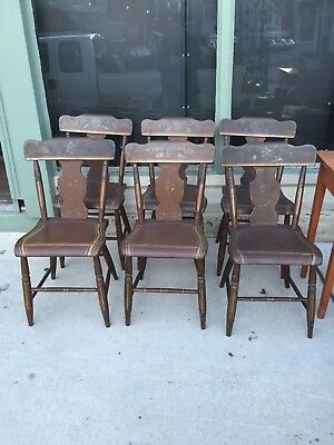 Antique Painted Paint Decorated Pa Md Set Of 6 Plank Bottom Seat Dining Chairs