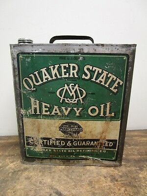 Vintage 5 Quart Quaker State Motor Oil Flat Square Can Sign- Oil City, PA