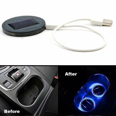 UK Solar Energy Car SUV Cup Holder Bottom Pad Mat Blue LED Light Cover Trim Lamp
