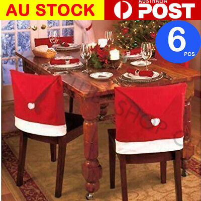 6× Christmas Chair Covers Dinner Table Santa Hat Home Decorations Ornaments Gift