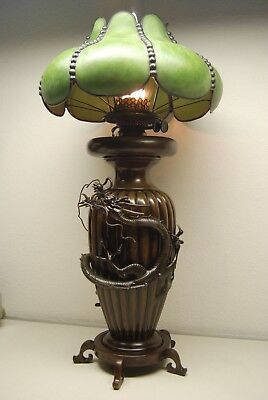 Antique Chinese Japanese Bronze Meiji Kerosene Oil Art Nouveau Deco Dragon Lamp