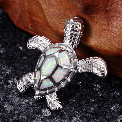 Lovely Sea Turtle Sterling Silver Australian Opal Necklace Pendants Jewellery