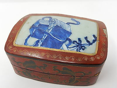 Very antique Box of China ,wood lacquered and porcelain 18th