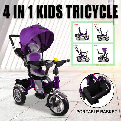 NEW 4 in 1 Baby Toddler Pram Stroller Foldable Buggy Jogger With Bassinet Purple