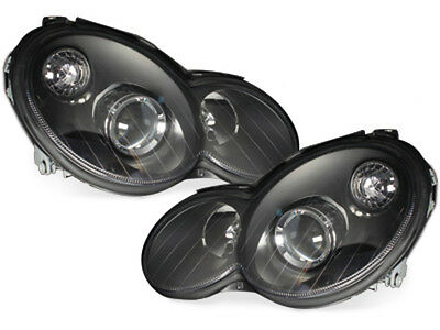 Headlights Mercedes Benz Sport Coupe W203 C203 01-08 Black