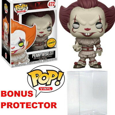 It - Pennywise (with Boat) CHASE Pop! Vinyl Figure #472 + Free Protector Case