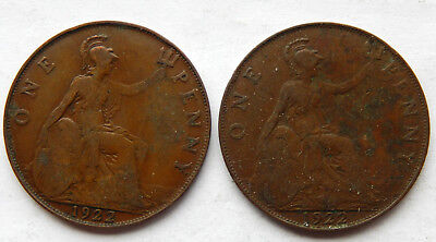 "1922 UK / Great Britain One Penny Coin ""Lot of 2 Coins""   SB5042"