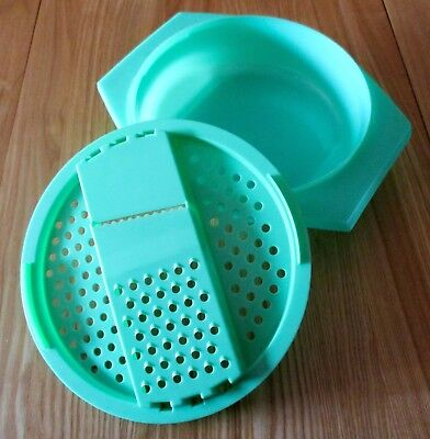 Vintage 1970 Tupperware Green Plastic Cheese/Veg Grater with Bowl