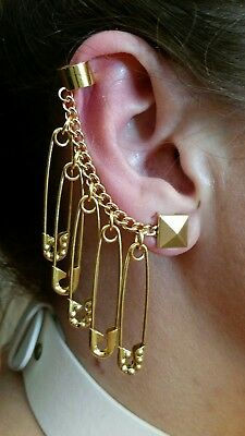 Harley Quinn Safety Pin Earring's (3 Octagon Embellished and 2 Gold)