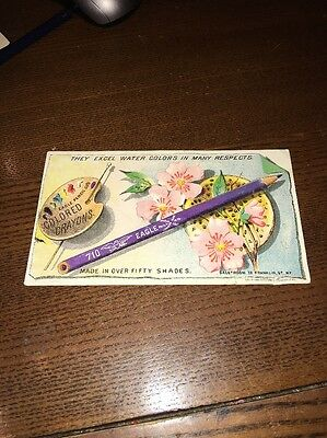Vintage 1900 Blotter / Trade Card Eagle Pencils Colors Crayons / Germans Books