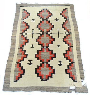 vtg 1920S NAVAJO CRYSTAL CROSS ARROWS NATIVE AMERICAN RUG blanket textile 42x63