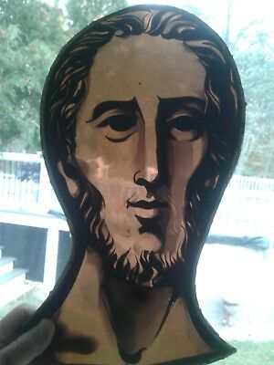 antique stained glass window panel saints head