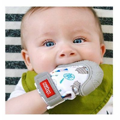 Nuby  Soothing Teething Mitten With Hygienic Travel Bag Grey Relieve Sore Gums