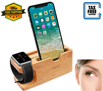 Apple Watch Stand Aerb Bamboo Wood Charging Stand Bracket Docking Station Sto...
