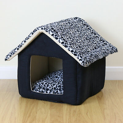 Soft Black Medium House Style Pet Bed Igloo Warm/Cosy Cave Cat/Kitten/Puppy/Dog