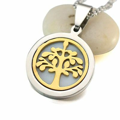 Two Tone Stainless Steel Tree of Life Inlaid Shell Charm Pendant Necklace 50CM
