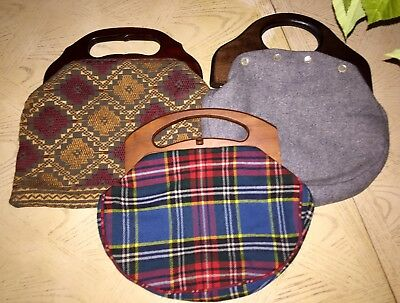 Rare Bermuda wood handle bags plads/tapestry lot of three vintage reds Big SALE~