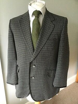 Burberry Vintage Leather Lined Wool Tweed Check Blazer 42 Extra Short £25