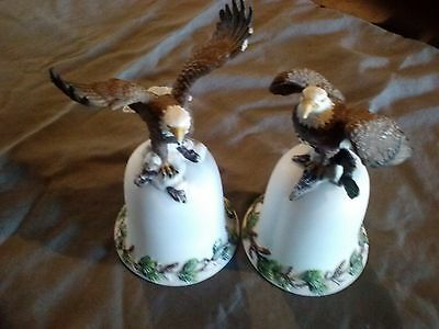 2 Ceramic American Eagle Bells