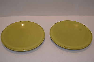 """Two Vintage Russel Wright Paden City  Pottery 6 3/4"""" Plates - Citron"""