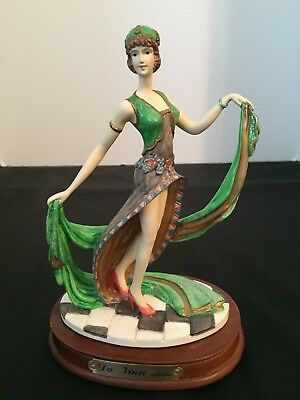Da Vinci Collection Flapper Lady in Green & Gold Resin Figurine on Wooden Base