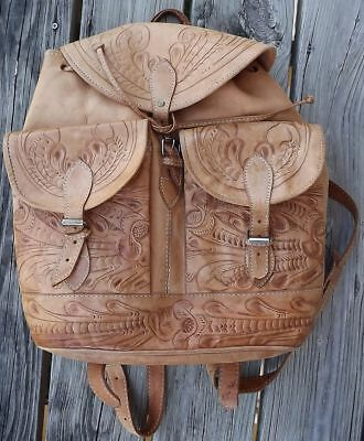 Vintage Mexican Hand Tooled Leather Backpack with Intricate Floral Design