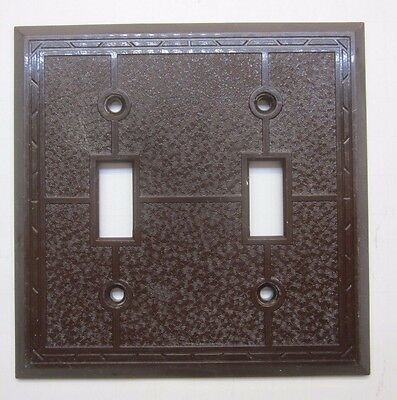 Vintage Brown 2 Gang Carling Deco Switch Wall Plate Cover Dashed Lines w. Swirls