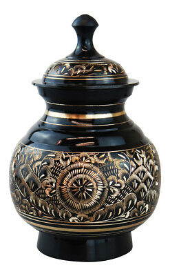 Classic Round Black Urn for Ashes Cremation Memorial - Grade II