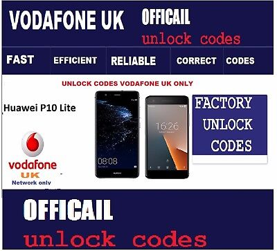 Unlock Codes for Huawei P10 Lite , P10 Plus , Huawei P8 lite Vodafone UK  only