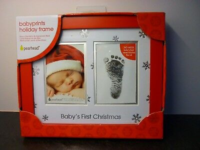 Baby's First Christmas Photo & Hand/Foot Print Picture Frame Christening gift