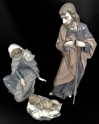 "Mint in Boxes~Lladro Nao ""Holy Family"" St. Joseph, St. Mary, Jesus~Nativity Set~"