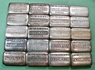 Lot of 20 - Vintage Engelhard 10 Ounce Loaf Style Silver Bars
