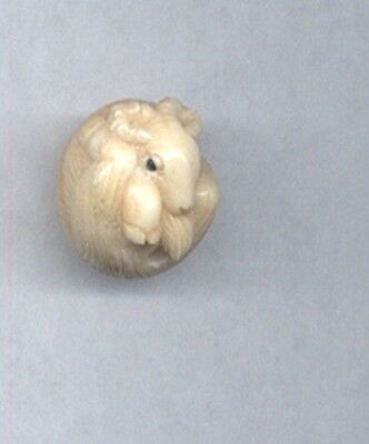 Ram Goat   Round Ball  Hand Carved  Japanese Ojime Bead  Miniature Figurine 121