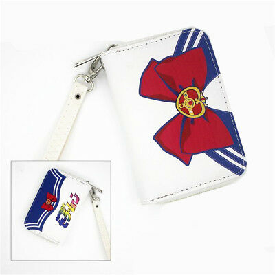 Sailor Moon Cosplay PU Leather Card Holder Wallet Clutch Zipper Coin Bag Purse