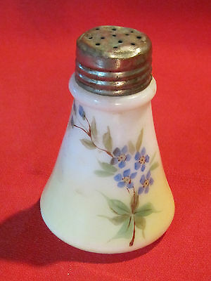 Victorian hand painted milk glass shaker w/ forget-me-not flower design