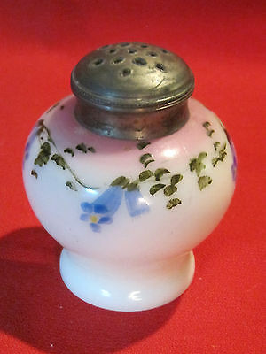 Victorian hand painted milk glass floral design shaker muffineer