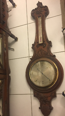antique victorian carved solid oak banjo barometer/thermometer-french-very large