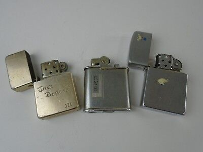 Lot of 3 Vintage Lighters - AS IS Parts or Repair - Champ Storm King Ronson