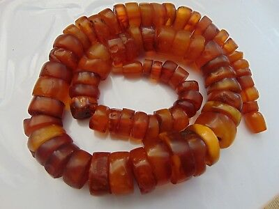 Old Natural Honey Egg Yolk Butterscotch Baltic Amber stones beads Necklace 90 gr