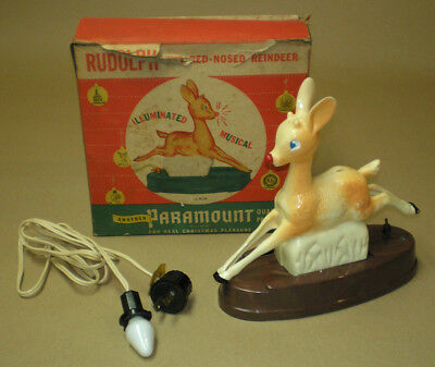Vintage Christmas Rudolph The Red Nosed Reindeer Raylite Music Box Light Up 1949