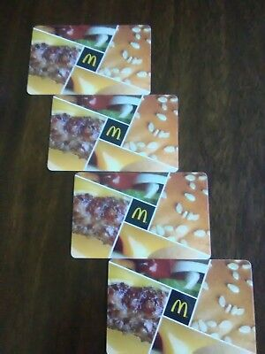Lot of four (4)GIFT CARDS  McDonalds 2017, Assorted Collectible Mint NO VALUE
