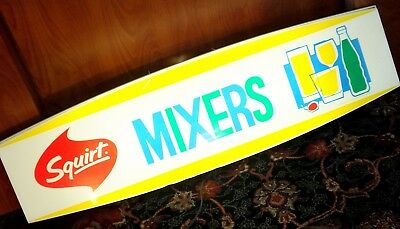 """Squirt Mixers Sign Lighted Soda Pop Vintage 36""""x10"""" Bar Pub Working Advertising"""