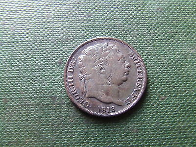 George I I I  1818,  Silver Sixpence.  Rare Date.   Nice Condition.